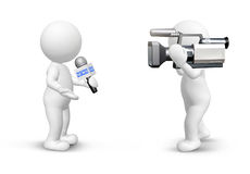 Making news. News team making news, cameraman and reporter isolated on white Stock Image