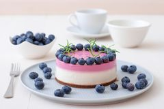Blueberry Cheesecake. Sweet dessert. Making no bake blueberry mini cheesecake. The two-color blueberry mini cheese cake. Round no bake cheesecake, bowl with stock photos