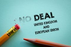 Making No deal in to Deal United Kingdom and European Union by eraser. Pencils on the table royalty free stock photography