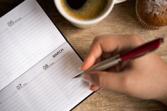 Making  notes for  8 March Royalty Free Stock Image