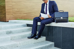 Making notes outdoors Royalty Free Stock Images