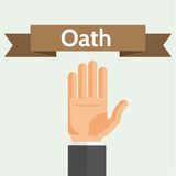 Making Oath or Vow Flat Style Vector Illustration. Hand palm and ribbon. Oath, swear, vow, pledge concept flat style vector illustration Royalty Free Stock Image