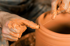 Making Of The Vase From Fresh Clay Royalty Free Stock Images