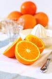 Making of orange juice Royalty Free Stock Images