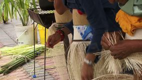 Making a panama Hat. People weaving a panama hat dexterity stock footage