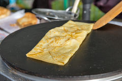 Making pancake with filling on frying electric stove Royalty Free Stock Photo