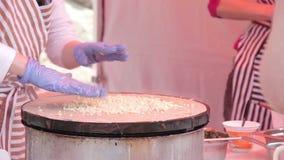 Making of pancake stock footage