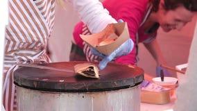 Making of pancake stock video footage