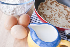 Making pancakes. English pancakes are thin cakes made from a batter of milk, eggs and flour cooked in a frying pan. They are specially popular in England on royalty free stock images