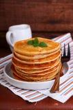 Making pancakes on Shrove Tuesday Royalty Free Stock Photos