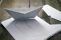 Making paper boats Royalty Free Stock Images