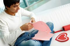 Making paper heart Stock Photo