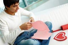 Making paper heart Stock Photo