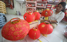 Making Paper Lantern for Lunar New Year Royalty Free Stock Photos