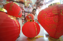 Making Paper Lantern for Lunar New Year Royalty Free Stock Image