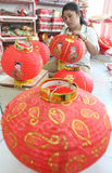 Making Paper Lantern for Lunar New Year Stock Photos
