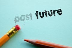 Making past in to future by eraser. Cencept for action and reaching goals royalty free stock image