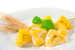 Making pasta. Fresh raw tortellini in a plate with ears wheat, flour, and a basil leaf; isolated on white background Stock Images