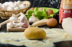 Making pasta from italian flour semolina Royalty Free Stock Photography