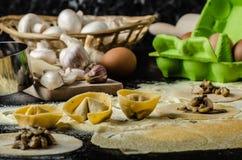 Making pasta from italian flour semolina Royalty Free Stock Images