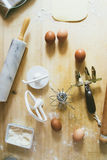 Making pasta. Top view of a wooden table with accessory and ingredients to make ravioli pasta Stock Photography