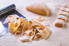 Making of pasta. Whole proces in a few photos Stock Photos