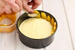Making peach cheese cake Stock Image