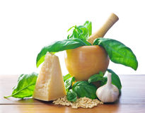 Making Pesto Sauce Stock Images