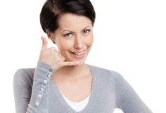 Making a phone call gesture Royalty Free Stock Photos
