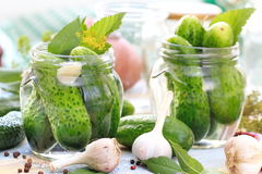 Free Making Pickled Cucumbers, Homemade Pickles In Jar Stock Photography - 76944392