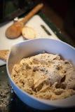 Making of pierogi. Polish traditional meal. Bowl and spoon Royalty Free Stock Image