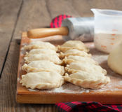 Making of pierogi with potato (Vareniki.) Stock Photo