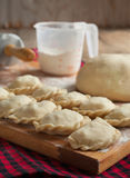 Making of pierogi with potato (Vareniki) Royalty Free Stock Photo