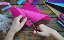 Free Making Pink Lama. Sewing Toys From Felt With Your Own Hands. DIY Concept For Children. Handmade Crafts. Step 2. Cut All Details Of Royalty Free Stock Photo - 158265635