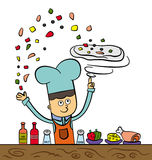 Making pizza. A cartoon chef making pizza by tossing the doe and tossing it's ingredients on it Stock Photography
