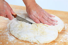 Making pizza dough Stock Photos