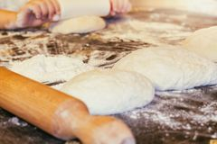 Making Pizza dough royalty free stock photo