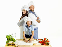 Making pizza with the family Royalty Free Stock Images