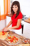 Making pizza at home Royalty Free Stock Photos