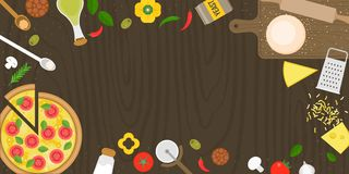 Making pizza poster with fresh ingredients and margarita pizza. Flat design top view vector illustration