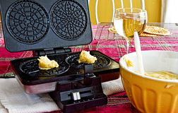 Making Pizzelles for Holidays Royalty Free Stock Photography