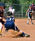 Making a Play at First Base Royalty Free Stock Photos