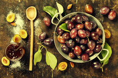 Making plum jam Stock Photos