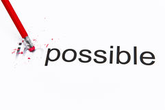 Making it possible. Changing the word impossible to possible by erasing the first 2 characters Royalty Free Stock Photo