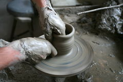 Making pottery. Manufacturing pottery in the old stile Royalty Free Stock Image