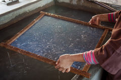 Making process made mulberry paper. Royalty Free Stock Image