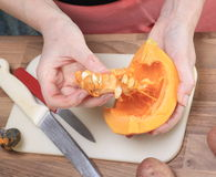 Making a Pumpkin Soup Royalty Free Stock Photography