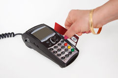 Making a purchase plastic card in payment machine Royalty Free Stock Photography
