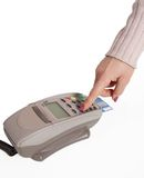Making a purchase plastic card in payment machine Stock Image