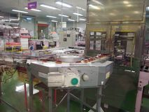 Making of Purple Potato Tart in Cake Factory Royalty Free Stock Images